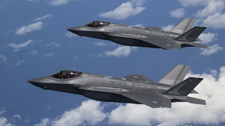 F-35A Lightning II Joint Strike Fighters A35-001 (closest) and A35-002 during the first trans-Pacific flight from Luke Air Force Base, USA to RAAF Base Amberley, Australia.