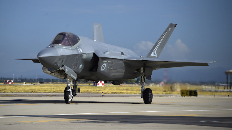 WGCDR Darren Clare taxies back to park in A35-002 after his first flight in an F-35A Lightning II