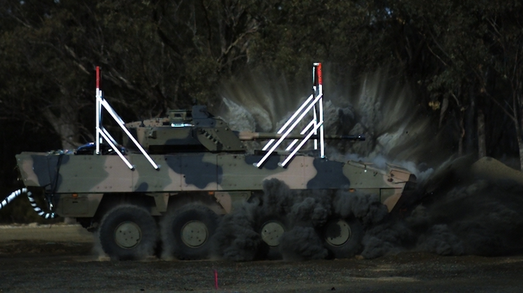 The BAE Systems Australia AMV35 undergoes blast testing at Proof and Experimental Establishment - Graytown Victoria, on 29 June 2017.