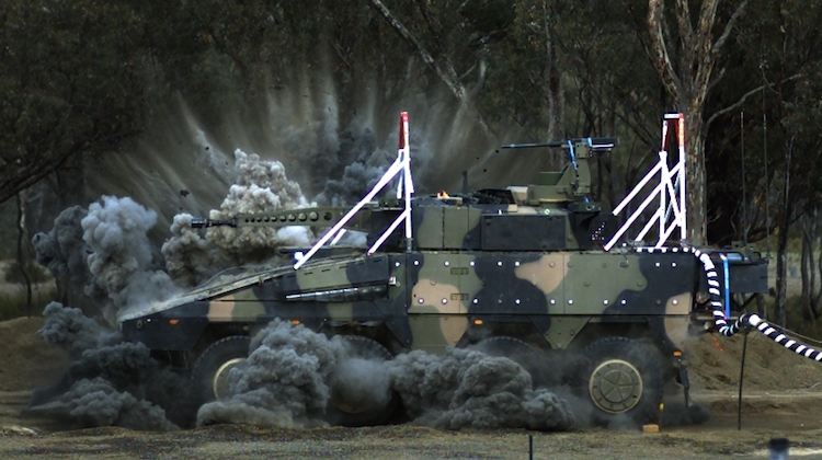 The Rheinmetall Boxer undergoes blast testing at Proof and Experimental Establishment - Graytown Victoria, on 22 June 2017.