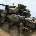 Rheinmetall Boxer CRV negotiating obstacles on the Driver Training Circuit at Puckapunyal.
