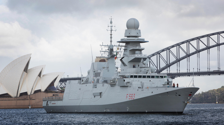 Italian Frigate Carabiniere sails through Sydney Harbour in prepaeration for docking at Fleet Base East, Sydney.