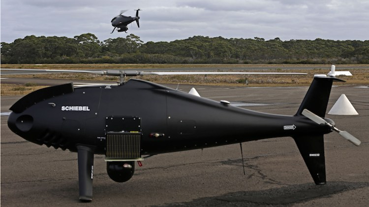 A Schiebel S-100 Camcopter Unmanned Air System takes to the air at Jervis Bay Airfield, NSW.
