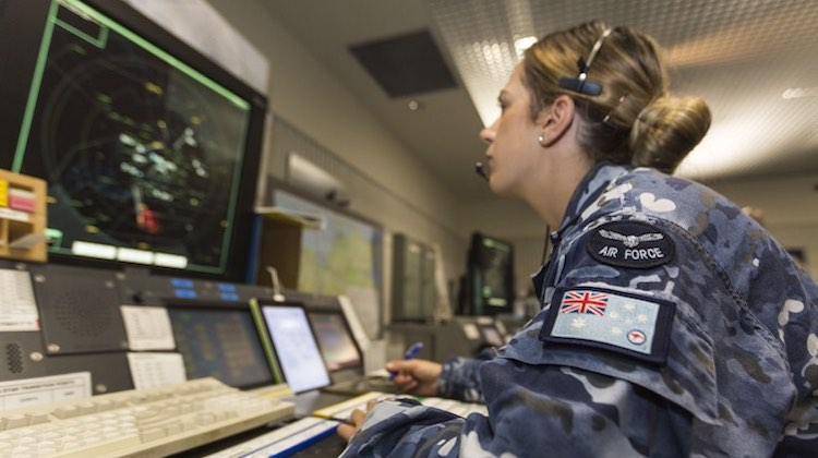 Flight Lieutenant Alysha Dunn, a Joint Battlefield Airspace Controller with No 452 Squadron, monitors the approach radar during Exercise Pitch Black 2016.