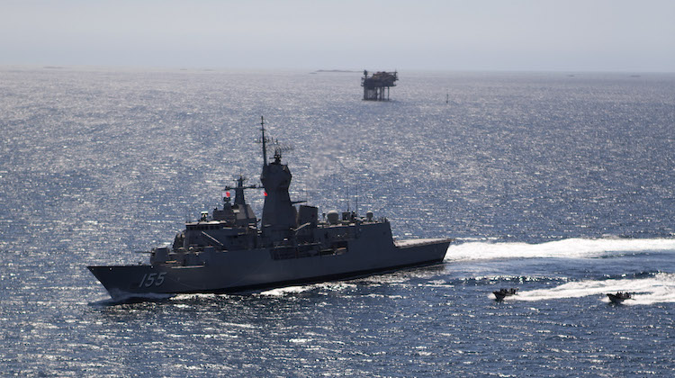 HMAS Ballarat patrolling the North West Shelf of Australia.