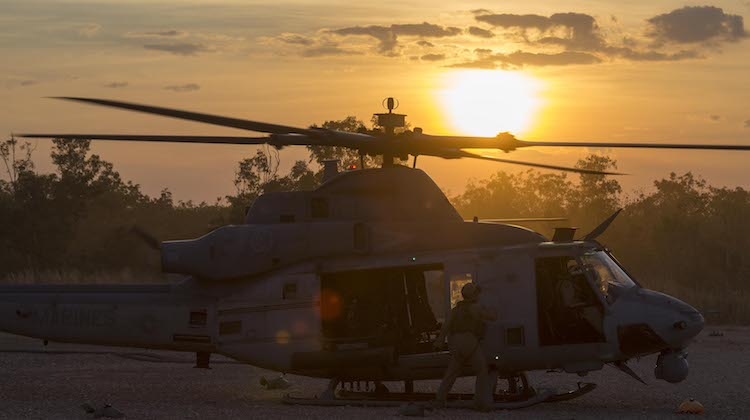 A United States Marine Corps UH-1Y Venom helicopter refuels at the Forward Arming and Refuelling Point at Mount Bundey Training Area during Exercise Talisman Saber 17.