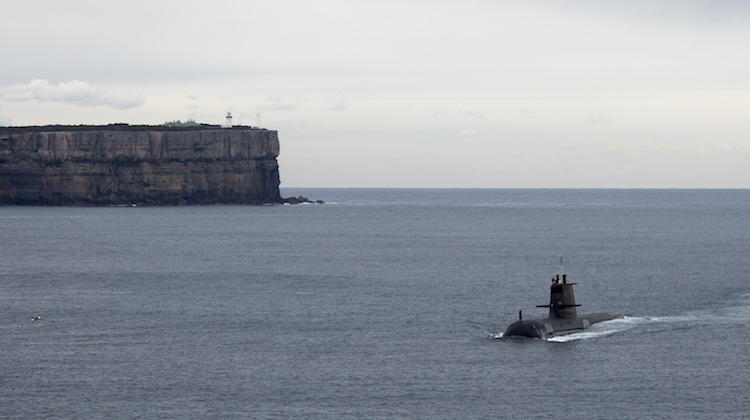 An Australian submarine enters Jervis Bay during a visit to the East Australian Exercise Area.