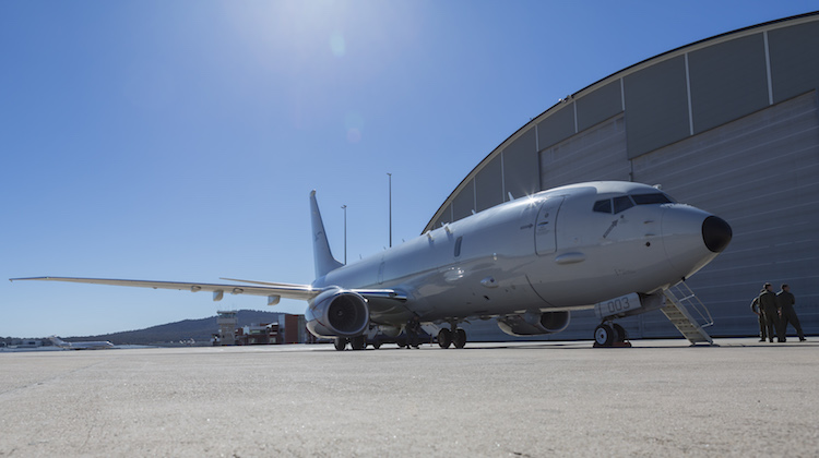 A RAAF P-8A Poseidon on the hardstand of Defence Establishment Fairbairn.