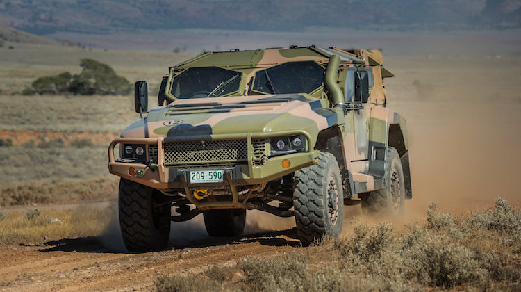 An Australian Army Hawkei protected mobility vehicle, one of the Army's new generation of combat vehciles, during Exercise Predator's Gallop in Cultana training area, South Australia, on 12 March 2016.