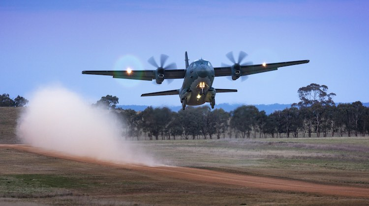 A Royal Australian Air Force C-27J Spartan transport aircraft from No 35 Squadron takes off from Walcha Airport during a training mission.