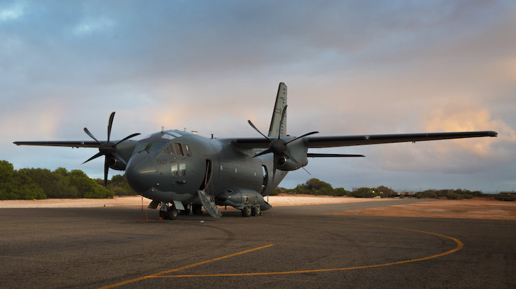 A Royal Australian Air Force C-27J Spartan battlefield airlifter on the flightline at Shark Bay Airport, Western Australia.