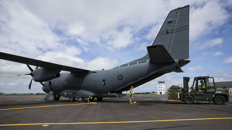 Air Load Team personnel from the Royal Australian Air Force load a Container Delivery System onto a C-27J Spartan at Royal New Zealand Air Force Base Ohakea, as part of Exercise Southern Katipo 2017.