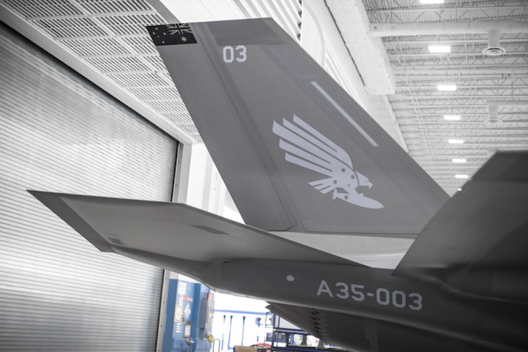 Squadron markings are applied to Australia's third F-35A – AU-03 – at Lockheed Martin in Fort Worth, Texas, United States, on 2 November 2017; the final stage in the aircraft's production process.