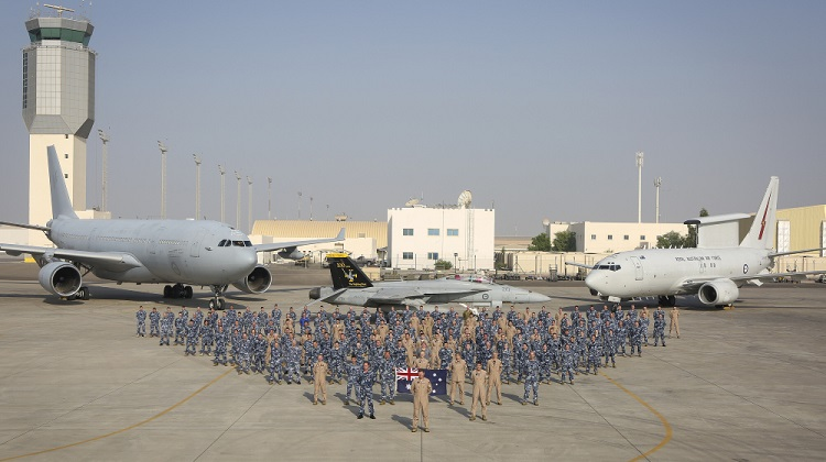 Australian Defence Force personnel based at Australia's main air operating base in the Middle East Region with a range of Australian aircraft. *** Local Caption *** The Air Task Group (ATG) is deployed on Operation OKRA and is operating at the request of the Iraqi Government with a US-led Global Coalition assembled to disrupt and degrade Daesh operations in the Middle East Region (MER). The ATG comprises six RAAF F/A-18F Super Hornet fighter aircraft, an E-7A Wedgetail airborne command and control aircraft, and a KC-30A Multi-Role Tanker Transport aircraft. Additionally, the ATG has personnel working in the Combined Air and Space Operations Centre, and embedded with the 'Kingpin' US tactical Command and Control Unit. The ATG is directly supported by elements of Operation ACCORDION including the Theatre Communications Group, Air Mobility Task Group, and the Expeditionary Airbase Operations Unit. There are up to 300 Australian Defence Force personnel deployed, at any one time, as part of, or in direct support of the ATG.