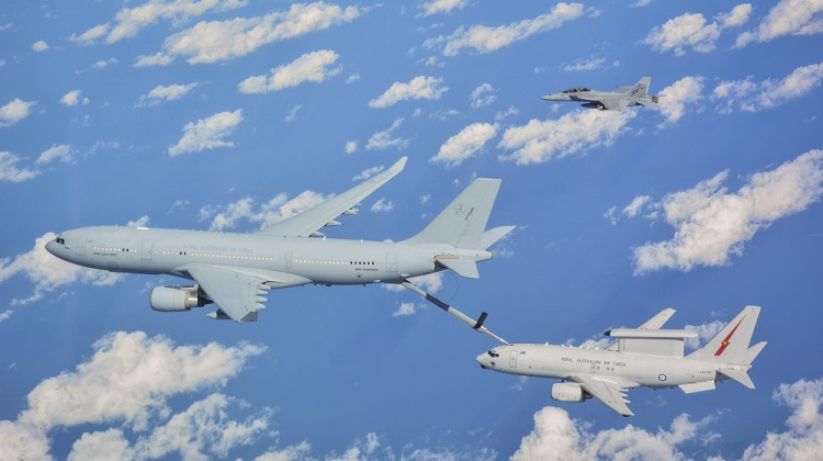 An RAAF KC-30A Multi Role Tanker Transport, E-7A Wedgetail and an F/A-18F Super Hornet fly in formation as they transit to the airspace as part of Operation OKRA. *** Local Caption *** The Air Task Group (ATG) is deployed on Operation OKRA and is operating at the request of the Iraqi Government with a US-led Global Coalition assembled to disrupt and degrade Daesh operations in the Middle East Region (MER). The ATG comprises six RAAF F/A-18F Super Hornet fighter aircraft, an E-7A Wedgetail airborne command and control aircraft, and a KC-30A Multi-Role Tanker Transport aircraft. Additionally, the ATG has personnel working in the Combined Air and Space Operations Centre, and embedded with the 'Kingpin' US tactical command and control unit. The ATG is directly supported by elements of Operation ACCORDION including the Theatre Communications Group, Air Mobility Task Group, and the Expeditionary Airbase Operations Unit. There are up to 300 Australian Defence Force personnel deployed, at any one time, as part of, or in direct support of the ATG.