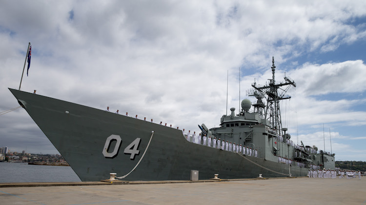 Ship's Company HMAS Darwin at Sydney's Garden Island during the ship's decommissioning ceremony.