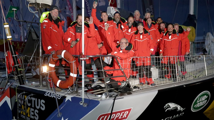 The Invictus Games Sydney 2018 yacht 'DOWN UNDER'S' team celebrate arriving at Constitution Dock in Hobart just before dawn on December 30, 2017. *** Local Caption *** Invictus Games Sydney 2018 military teams participated in the 2017 Rolex Sydney Hobart Yacht Race from December 26 to 30. The Australian team crewed the Invictus Games Sydney 2018 yacht 'DOWN UNDER'. The Australians participated alongside a UK Team crewing Invictus Games Sydney 2018 yacht 'GAME ON'. The Australian crew of eight that took part in the 2017 Rolex Sydney Hobart Yacht Race was supported by the Australian Defence Force, the Returned and Services League, Solider On and Mates for Mates.  The Rolex Sydney Hobart Yacht Race is an iconic blue water classic race of 628 nautical miles starting annually on Boxing Day in majestic Sydney Harbour.  The two crews set sail from the Cruising Yacht Club of Australia on Boxing Day as part of the wider race contingent. Those selected were not necessarily part of their nations' Invictus Games Team for the Sydney Games as these teams are yet to be selected.  The Invictus Games is an international adaptive sporting event for serving and former defence personnel which will be held from 20–27 October 2018 in Sydney. The Games use the power of sport to inspire recovery, support rehabilitation and generate a wider understanding and respect for wounded, injured and ill servicemen and women.  The fourth Invictus Games will be held in Sydney during which the sport of sailing will debut on the competition schedule.