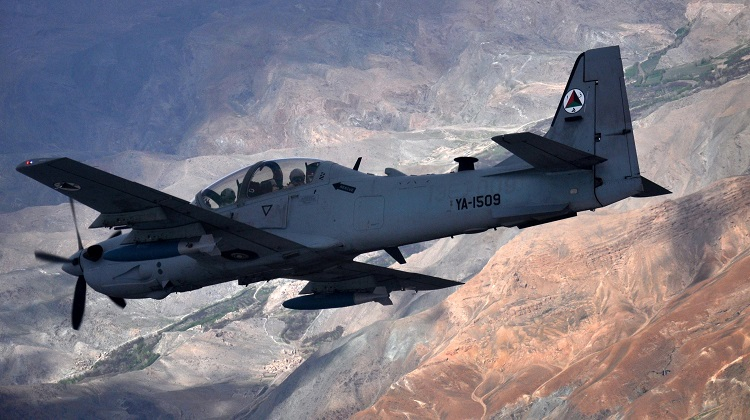 An A-29 Super Tucano flies over Afghanistan during a training mission April 6, 2016. The Afghan Air Force currently has eight A-29s but will have 20 by the end of 2018. (U.S. Air Force photo/Capt. Eydie Sakura)