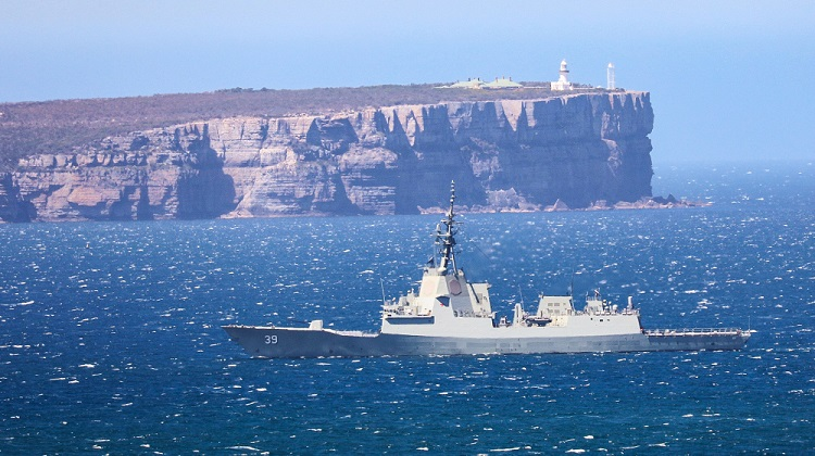 HMAS Hobart enters Jervis Bay for her Mariner Skills Evaluation period. *** Local Caption *** HMAS Hobart, one of three new Guided Missile Destroyers that will be built for the RAN, departed Sydney on 18 October 2017 to conduct her Maritime Skills Evaluation. The voyage is her first at sea since commissioning on 23 September 2017.