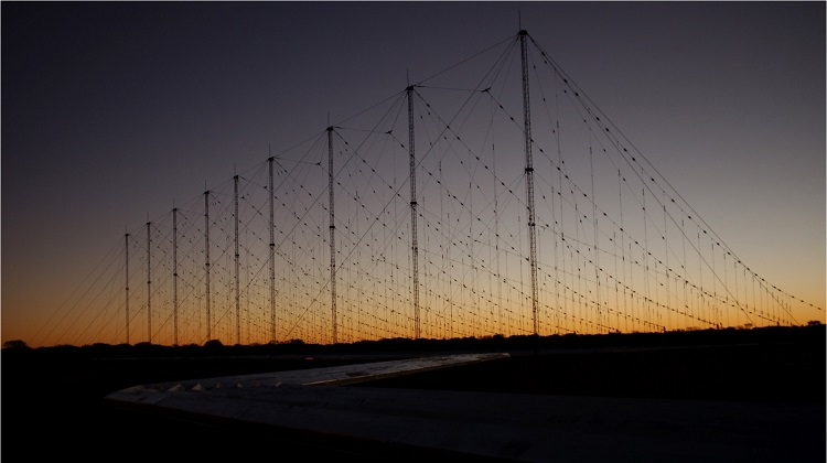 A Jindalee Operational Radar Network(JORN) transmitter site at sunset, Harts Range, Alice Springs. *** Local Caption *** The Jindalee Operational Radar Network (JORN) is a strategic asset used in the Defence of Australia. JORN is a network of three over-the-horizon radars that can detect aircraft and ships between 1000 and 3000km from the northern coastline of mainland Australia