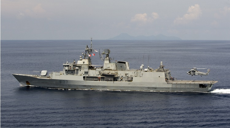 A Royal New Zealand Navy Sea Sprite lands on HMNZS Te Kaha, as warships from Australia, Malaysia, Singapore and New Zealand conduct Exercise Bersama Shield 2017. *** Local Caption *** Exercise Bersama Shield is an annual Five Power Defence Arrangement (FPDA) training exercise. The exercise is held within the FPDA exercise area near Malaysia and Singapore between April 27th and May 9th 2017. Exercise Bersama Shield is a major training exercise, which aims to enhance interoperability and strengthen the professional relationships of the FPDA nations through the conduct of combined joint maritime, land and air operations in a multi-threat environment.
