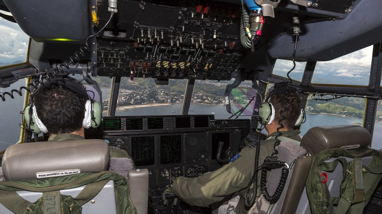 Aircrew from Number 37 Squadron approach Port Morseby. *** Local Caption *** At the request of the Government of Papua New Guinea (PNG), the Australian Defence Force is providing support to the Department of Foreign Affairs effort following the 7.5 magnitude earthquake that struck central PNG on 26 February 2018. A Royal Australian Air Force C-130J Hercules has aerial surveillance over the area affected by the earthquake .A replacement C-130J Hercules departed RAAF Base Richmond on 1 March 2018 with ADF Personnel to support the Government of PNG in transporting personnel and supplies to the affected region.