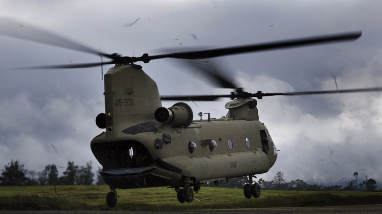 An Australian Army CH-47F Chinook helicopter lifts from Mount Hagen Airport during Operation PNG Assist 2018. *** Local Caption *** Three Australian Army CH-47F Chinook aircraft from Townsville based 5th Aviation Regiment have begun ferrying essential supplies to remote areas of Papua New Guinea affected by a 7.5 magnitude earthquake which struck on 26 February 2018. Operation PNG Assist 2018 is the ADF contribution to the DFAT led, Whole of Australian-Government response to the earthquake. The Boeing CH-47F Chinook is the largest helicopter in the Australian Army, and is one of the most versatile.
