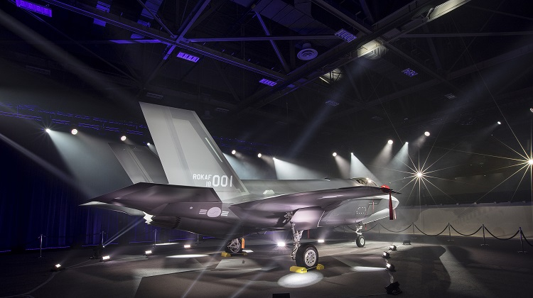 The first Republic of Korea F-35A makes its public debut in a special ceremony at Lockheed Martin in Fort Worth, Texas, March 28. Lockheed Martin photo by Alex Groves (PRNewsfoto/Lockheed Martin Aeronautics)