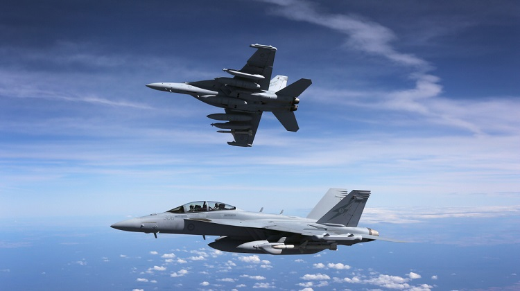 A pair of Royal Australian Air Force EA-18G Growlers en route to the Australian Air Show in Avalon. *** Local Caption *** The Australian Defence Force is proud to be part of the 2017 Australian International Airshow - the premier event in the Southern Hemisphere for showcasing aerospace industry and military aviation.