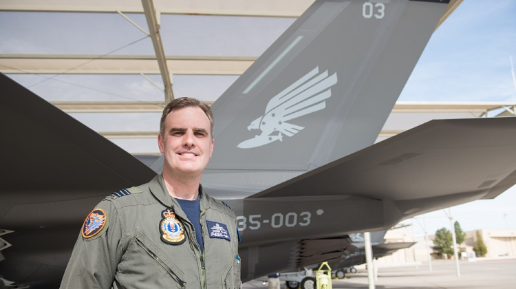 Royal Australian Air Force Wing Commander Darren Clare with A35-003, that arrived at Luke Air Force base. *** Local Caption *** Australia's Joint Strike Fighter program has taken another significant step forward with the acceptance of the next three Australian F-35A aircraft from Lockheed Martin. The three aircraft are joining Australia's first two F-35A jets at Luke Air Force Base in Arizona, where Royal Australian Air Force pilots and maintainers are currently training and instructing.