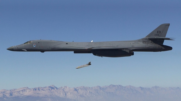 First B-1B live JASSM drop. China Lake Range.