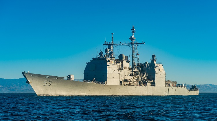 171022-N-KT595-805  PACIFIC OCEAN (Oct. 22, 2017) The guided-missile cruiser USS Mobile Bay (CG 53) transits past Port Hueneme, Calif.. Mobile Bay is underway testing the updated AEGIS Baseline 9 weapons system in preparation for its upcoming deployment. (U.S Navy photo by Mass Communication Specialist 1st Class Chad M. Butler/Released)