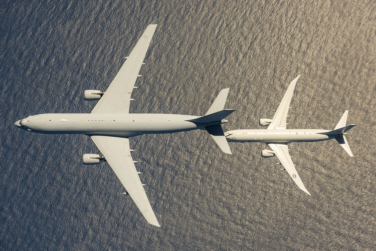 An Australian KC-30A Multi Role Tanker Transport (MRTT) from 33SQN, operated by the Aircraft Research and Development Unit, conducts aerial refuelling compatibility flight testing over the Atlantic Ocean with a United States Navy P-8A Poseidon from Air Test and Evaluation Squadron Two Zero.  *** Local Caption *** Over the period 27 February to 14 April 2018 members from the Aircraft Research and Development Unit (ARDU) and 33 Squadron deployed to Naval Air Station Patuxent River in the United States, to undertake clearance testing between the KC-30A and the Poseidon P-8A aircraft.  The testing was jointly planned and executed by ARDU and the United States Navy (USN) P-8A Integrated Test Team from Air Test and Evaluation Squadron Two Zero (VX-20).  Throughout the program the RAAF and USN flight test units were tightly integrated to the extent that USN flight test personnel flew as crew on the RAAF KC-30A and RAAF flight test personnel flew as crew on the USN P-8A.  The ability to refuel the P-8A in flight will allow our aircraft to project maritime patrol and strike capabilities further and for longer.