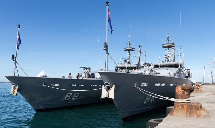 HMA Ships Maitland (left) and Larrakia alongside the wharf at Zamboanga, Philippines, during their arrival ceremony as part of Operation AUGURY. *** Local Caption *** On Friday, 10 November 2017, the Royal Australian Navy Armidale Class Patrol Boats HMA Ships Larrakia and Maitland arrived alongside the port of Zamboanga in the southern Philippines to begin conducting bilateral maritime patrols with Philippine Navy vessels as part of a combined Philippine Navy and Royal Australian Navy Maritime Security Engagement. The Royal Australian Navy's participation in the Maritime Security Engagement is part of Operation AUGURY - the Australian Defence Force's contribution to the Whole-of-Australian-Government effort to counter terrorism and violent extremism in the domestic, regional and global context. The two Australian patrol boats were welcomed alongside at Zamboanga by the city's Mayor, Maria Isabelle Climaco-Salazar, Armed Forces of the Philippines Rear Admiral Rene V Medina - Commander Naval Forces Western Mindanao, as well as Australian Ambassador to the Philippines - Her Excellency Amanda Gorely, Australian Defence Attaché to the Philippines - Royal Australian Navy Captain Brad White, and Commander Joint Task Force 629 - Australian Army Lieutenant Colonel Ben McLennan. During the Maritime Security Engagement, the vessels will conduct patrols in the Sulu Sea, and will practice a broad range of seamanship skills, interoperability and maritime security tactics with a focus on counter-terrorism and counter-piracy techniques.