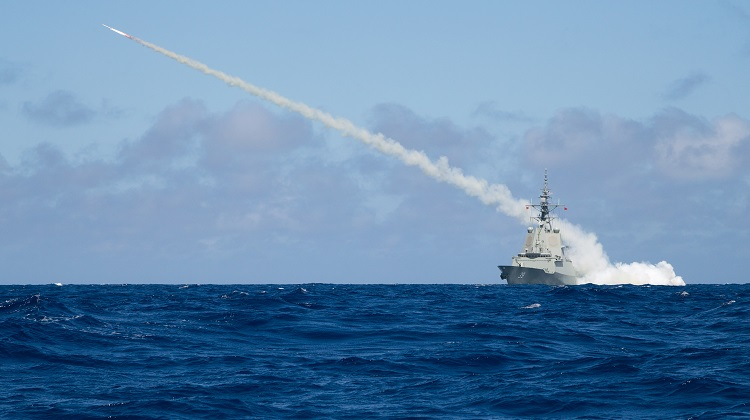 Air Warfare Destroyer HMAS Hobart successfully fires a Harpoon Blast Test Vehicle in the East Australian Exercise Area, proving the capability of the ship to launch Harpoon missiles.