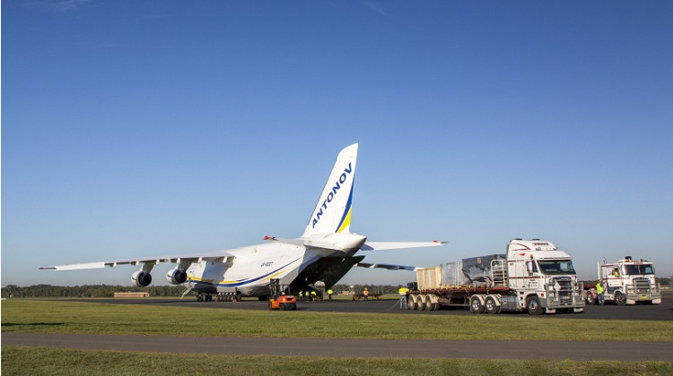 F-35 equipment is off loaded from an Antonov An-124 at RAAF Base Williamtown. *** Local Caption *** RAAF Base Williamtown hosted one of the world's largest cargo aircraft, an Antonov An-124 on Wednesday 2 May, and Thursday 3 May to deliver F-35A training equipment. The cargo was an F-35 Weapons Load Trainer (WLT) and Ejection Seat Maintenance Trainer (ESMT) will be installed in the Australian F-35 Integrated Training Centre at the base. The Australian F-35 Training System will provide Australia with its own F-35 pilot and maintainer training capability and form part of the overall Australian F-35 Training System being procured through the F-35 Joint Program Office.