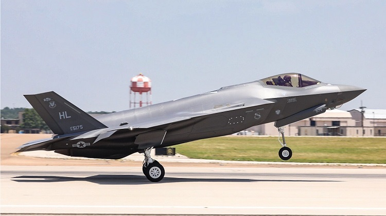 The 300th production F-35 aircraft flies off the flight line at Lockheed Martin in Fort Worth, Texas. (PRNewsfoto/Lockheed Martin Aeronautics Com)