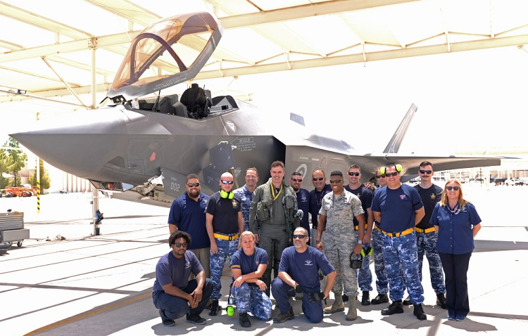 Personnel from the Royal Australian Air Force, United States Air Force and Lockheed Martin gather together to mark the completion of first 1000 sorties by Australian F-35As. *** Local Caption *** RAAF personnel at Luke Air Force Base, Arizona, reach a flying milestone as the Australian F-35As complete their first 1000 sorties. The RAAF F-35A team are working together with the 56th Fighter Wing USAF and Lockheed Martin to develop Australia's initial F-35A capability. Royal Australian Air Force pilots and maintenance personnel are fully embedded and integrated in USAF squadrons as they prepare to lead Australia's transition to a fifth-generation Air Force.