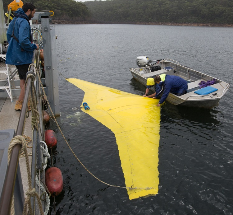 Alan Lavery from the Ron Allum Deepsea Services, prepares to launch the Sun Ray Glider at Woronora Dam, Sydney. *** Local Caption *** The Sun Ray Glider unmanned undersea flying wing was put through a series of underwater tests at Woronora Dam southwest of Sydney. The glider contains an internal buoyancy vessel that can be flooded or pumped out to change the vehicle's displacement, making it sink or rise. The resulting movement of water over the wing's surface generates forward thrust, removing the need for propeller or waterjet propulsion. It is built partly of syntactic composite foam that holds its shape even at extreme pressures, giving the glider greater depth capability than manned submarines. It may allow missions of up to three months, gliding more than 2,000 nautical miles.