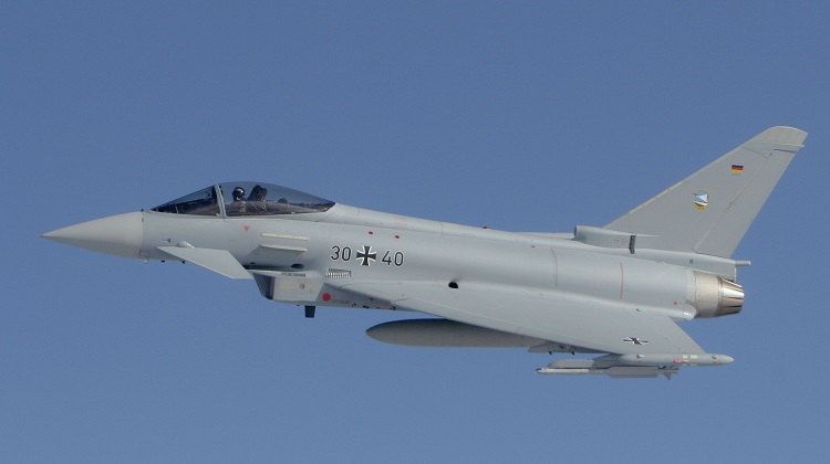 GAF Eurofighters at JG-74 Neuburg fitted with IRIS-T missiles and drop tanks.
