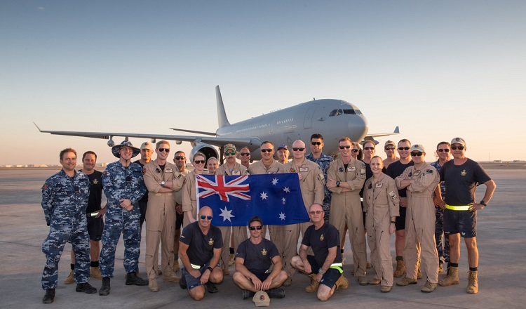 The Australian Air Task Group pose with their E-7A Wedgetail Airborne Early Warning and Control aircraft and their KC-30A Multi-Role Tanker Transport air-to-air refuelling aircraft in the Middle East Region. *** Local Caption *** Approximately 70 Australian Defence Force personnel are deployed to the Australian Air Task Group in the Middle East Region as part of Operation OKRA. Operation OKRA is the Australian Defence Force's contribution to the international effort to combat the Daesh (also known as ISIL) terrorist threat in Iraq and Syria.